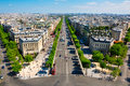 The champs elysées seen from the arc de triomphe on july in paris Stock Photo
