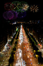 Champs Elysees at night and fireworks Stock Photo