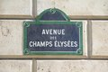 Champs elysees in paris street sign for Royalty Free Stock Images