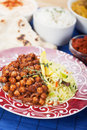 Chana masala with rice chickpeas cooked classic indian meal Stock Images
