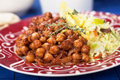 Chana masala with rice chickpeas cooked classic indian meal Royalty Free Stock Image