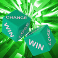 Chance win lose dice background showing gamble losers and winners Royalty Free Stock Image