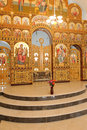 Chancel with icons marvelous at church Royalty Free Stock Image