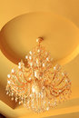 Chandelier on the ceiling in a hotel closeup of Royalty Free Stock Photo