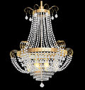 Chandelier with crystal pendants on the black illustration of a Stock Photo