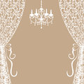 Chandelier and curtains vintage card with Stock Photos