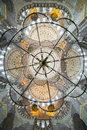 Chandelier and dome of New mosque in Fatih, Istanbul Royalty Free Stock Photo