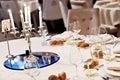 Chandelier on elegant dinner table Royalty Free Stock Photo