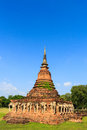 Chang lom pagoda thailand the famous ancient in sukhothai Royalty Free Stock Images