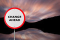 Change ahead round road sign copy space for text message Stock Photo