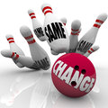 Change Bowling Ball Strike Shaking Up for Adapting Royalty Free Stock Photos