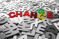 Change chance color and word concept in scattered black and white wood letters Stock Photography