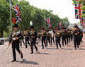 Change of the guard london some soldiers making daily in front buckingham palace in Royalty Free Stock Photography