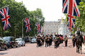 Change of the guard london some soldiers making daily in front buckingham palace in Royalty Free Stock Photos