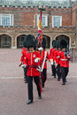 Change of the guard london some soldiers making daily in front buckingham palace in Royalty Free Stock Image
