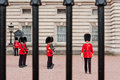 Change of the guard london some soldiers making daily in front buckingham palace in Stock Photos