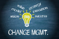 Change management components chalkboard with an idea light bulb surrounded by the of in white chalk with graphic mgmt Royalty Free Stock Images
