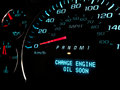 Change oil soon warning light engine on dashboard Stock Image