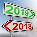 2019 2018 change road sign red green 3d rendering Royalty Free Stock Photo