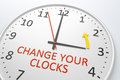 Change your clocks an image of a nice clock with text Stock Photo