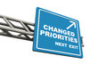 Changed priorities on next exit written on a highway direction board white backdrop Royalty Free Stock Photos