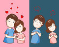 Changing couple relationship cartoon  illustration Royalty Free Stock Photo