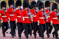 Changing the guard of at buckingham palace soldiers on parade Stock Images
