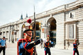 Changing of the guard in royal palace at madrid spain october female soldier marching military parade solemn october Royalty Free Stock Image