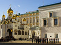 Changing of the guards ceremony moscow kremlin complex russia cathedral square Royalty Free Stock Photography