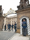 CHANGING OF THE GUARDS AT PRAGUE CASTL Royalty Free Stock Photo