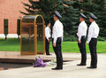 Changing of the honor guard ceremony tomb of the unknown soldie soldier in moscow russia Stock Image