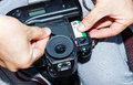 Changing new of negative roll film into SLR manual camera Royalty Free Stock Photo