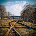 Changing railroad tracks Stock Photo