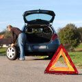 Changing the tire on a broken down car Royalty Free Stock Photo