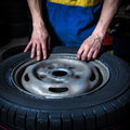 Changing tires replacement in the garage Royalty Free Stock Image