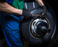 Changing tires replacement in the garage Stock Photography