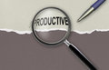 Changing the word unproductive for productive and magnifying glass made in d software Royalty Free Stock Photography