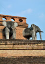 Changs sculpture of history and architecture the temple wat chedi luang lanna art over seven hundred years traces the beauty Royalty Free Stock Photos