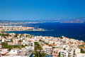 Chania city from above crete view of the white houses of greece Stock Photography
