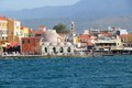 Chania crete town on island in greece old town and venetian harbor view Stock Image