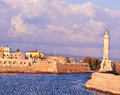 Chania harbor old with lighthouse of in crete greece Royalty Free Stock Photography