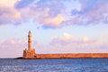 Chania lighthouse old venetian of in crete greece Royalty Free Stock Image