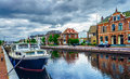 The channel in the assen town holland nice view of by morning Royalty Free Stock Photography