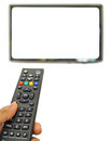 Channel surfing with remote control in hand Stock Photo