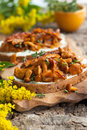 Chanterelle sandwiches with cheese bacon and thyme Stock Images