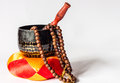 Chanting bell and beads are used in buddhist Royalty Free Stock Image