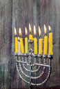 Chanukah candles all in a row. Bright, shiny the Jewish holiday. Royalty Free Stock Photo
