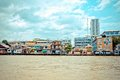 Chao Phraya River and houses in Bangkok Stock Photography