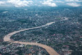 Chaopraya river and bangkok city view from above Royalty Free Stock Photography