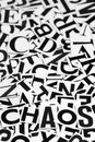 Chaos macro shot of a clipped letters formed the word Stock Image